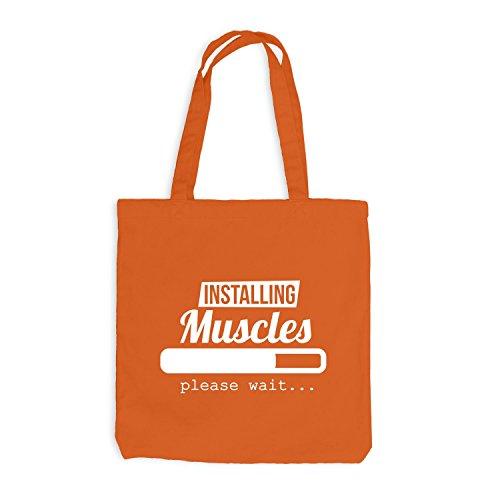 Orange Wait Gym Please Muscles Installing Sport Loading Jutebeutel Train qw81Tn