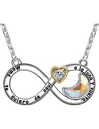 e35468421ccfd ENGSWA Collar Mujer Grabado Colgante Infinito Corazón con Cristales de  Swarovski Luna Incrustados por LEKANI Regalo