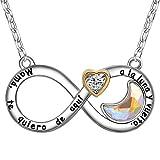 ENGSWA Collar Mujer Grabado Colgante Infinito Corazón con Cristales de Swarovski Luna Incrustados por LEKANI Regalo Madre Mamá