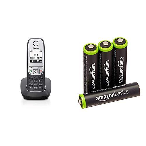 Gigaset A415 - Schnurlostelefon ohne Anrufbeantworter - einfaches DECT-Telefon mit Freisprechfunktion & AmazonBasics Vorgeladene NI-MH AAA-Akkus - Akkubatterien 4 Stck