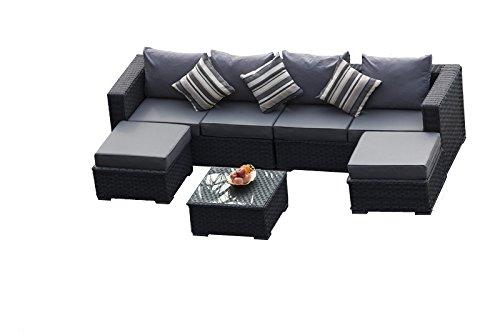 yakoe 50132 papaver 6 seater garden furniture patio conservatory rattan corner sofa - Garden Furniture Corner Sofa