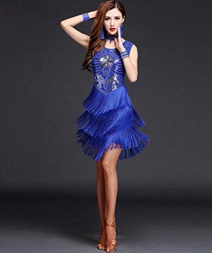 FGDJTYYJ Latin Dance Kostüm weibliches erwachsenes Pailletten Trainingsanzug Quaste Kleid, L (Für Erwachsenen Dance Kostüm)