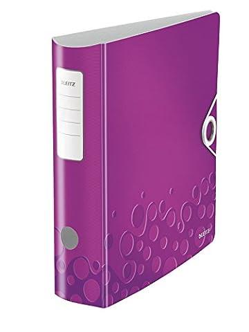 Leitz 11060062 Multifunktions-Ordner (A4, Runder Rücken 8,2 cm Breite, Gummibandverschluss, Kunststoff, WOW) violett metallic