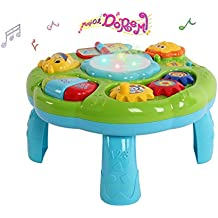 Mesa De Actividades Musicales Juguete - Juguetes Educativos Para Niños Pequeños Con Piano Pat Drum Encender Un Cigarrillo Para Bebé Infantil (Verde)
