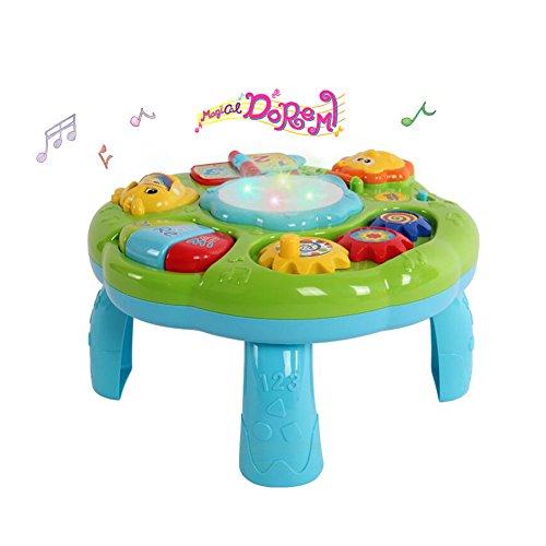 Musikalisches Baby Lerntisch Aktivitätszentrum mit Pat Drum Light Up für Kleinkinder Pädagogisches Spielzeug (Grün) (Baby Spielzeug Musikalisches)