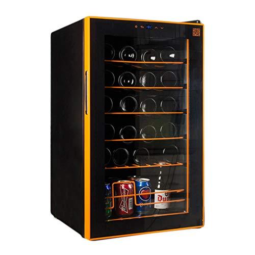 HUATINGRHHO Leise Kompressor Weinkühlschrank 24 Flaschen, 7 Einschübe LED-Display Edelstahl Glastür Touch Panel Freistehend Glasfront mit Edelstahlrahmen Glastür