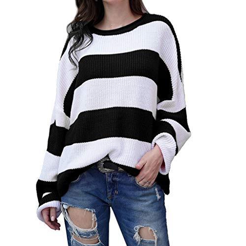 Ludzzi Klassische Farbe Streifen Pullover Strickpullover Strickpullover