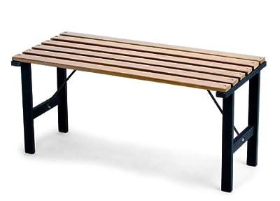 Sitzbank Bank Beistelltisch Granada, Holz+Metall ~ teakfarben