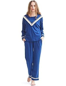 8287e53e31 Ladies Cotton Maniche Lunghe Pigiama Nazionale Wind Home Abbigliamento