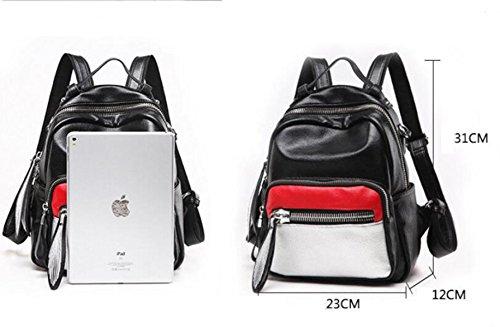 LQABW Frauen Mädchen Rucksack Mode Lässig Aus Echtem Leder Schultasche Daypack Handtasche,B B