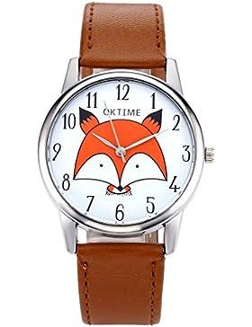 JSDDE Uhren,Fashion Cute Cartoon Orange Kleine Fuchs Kopf Armbanduhr Damen Uhr Lederarmband Analog Quarzuhr,Hellbraun
