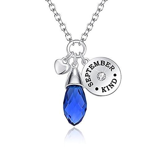 Birthstone Necklace September Pendant Sapphire Swarovski Elements Crystal Teardrop Silver Plated