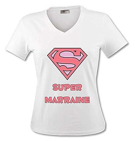 Yonacrea - T-Shirt Col V Adulte - Superman Rose - Super Marraine - XXL