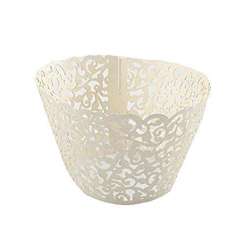 Xiton 50 PC-Hohl Paper Cup-Kuchen-Verpackungen Papier Laser-Schnitt-Cup-Papier-Schalen-Kuchen-Dekoration Zubehör für Hochzeit Geburtstags-Party-Dekoration Beige