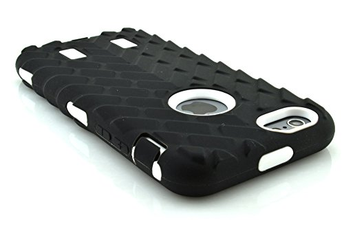 meaci (TM) Coque pour iPhone 611,9cm cas 3en 1Pneu à rayures Combo hybride Defender High Impact Corps ArmorBox Coque rigide en silicone et PC Pneu Coque de protection (Blanc)