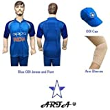 ARFA Combo - Blue ODI Cricket Uniform 32 No. For 8-12 Years Boy Or Girl, Set Of Sleeves, T- Shirt And Pant With Sky Blue ODI Cap By Aaina Sports.