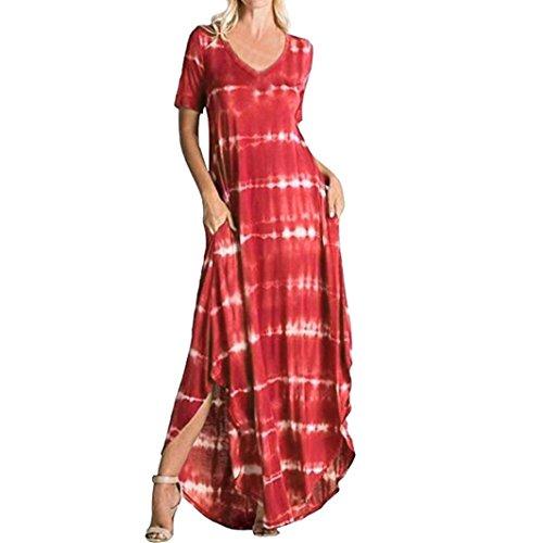 Kleid damen Kolylong Frauen Elegant Gestreift Kurzarm Kleid Lang Casual T-shirt Kleid mit Tasche Split Maxikleider Strandkleid Ballkleid Cocktail Party Abendkleid Shirt Lang (Rot, XXL) -