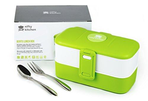Bento Box de Nifty Kitchen - Lonchera con 2 compartimentos y cubiertos - a prueba de agua, apto para lavavajillas y microondas. Ideal para adultos o niños, hombres o mujeres.