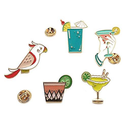 (Hawaii Luau Party Brosche Pin Wäscheklammer Legierung Schmuck Geschenk Für Freunde Deko der Kleid, Tinksky 5pcs–Strand Weinglas und Cup Papagei und rot und Zitrone Saft Tasse)