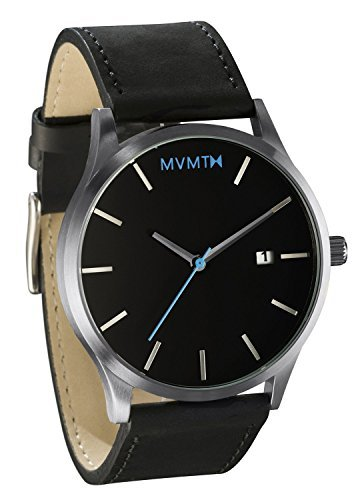MVMT Watches Classic Black/Silver Leather