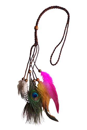 Pfau Schmuck Kostüm - Unbekannt Halskette Indianer Pfau Indianerschmuck Kette mit Pfaufeder Halsschmuck Kostüm
