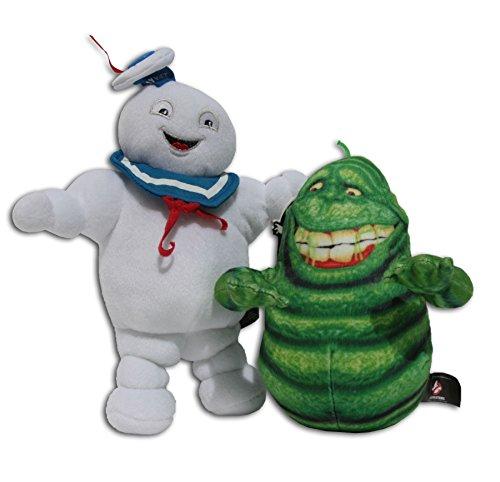 Marshmallow Mann 22cm und Slimer 16cm Packung 2x Plüschtiere Kuscheltiere Plüsch Ghostbusters 3 Geisterjäger Film Marshmallow-Monster Man Original Stofftier Seemann Weiß Figuren Serie Fantasy (Marshmallow Aus Ghostbusters)