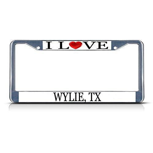 Nummernschild Rahmen I LOVE Herz Wylie (, TX Aluminium Metall Nummernschild Rahmen (Marine Corps Nummernschild)