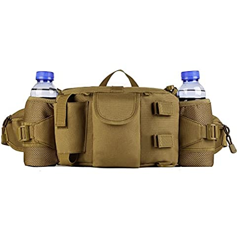 ProtectorPlus Tactical Bumbag Outdoor Military Fanny Pack with Double Bottle Holder Hiking Camping Assault Waistpack (Brown)
