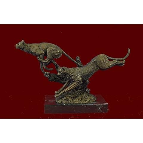 Statua di bronzo Scultura...Spedizione Gratuita...Superba Art Deco 100% Grande Puma / leopardo / Jaguar / Big Cat Deco(XN-2524-JP)Statue Figurine Figurine Nude per ufficio e casa Décor Primo Giorno Cal