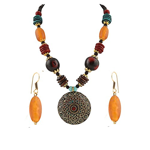 Kaizer Jewelry Multicolor Metal Pendant Necklace Set For Women