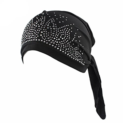 Ever Fairy Crystal printing Pleated Chemo Cap for Women Turban Hats Test