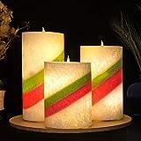 Homemory batteriebetriebene flammenlose Kerze mit Timer, 3er Set Tropfen LED Votivkerze, elektrische Kerze mit flackernder Flamme für Geschenk, Spa, Badezimmer, Tisch,(Rainbow) - 4