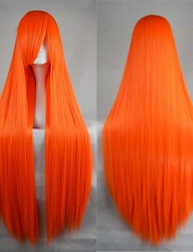 XZL Perücken der Weise heiße Verkauf der Faser 40Zoll hohe Temperatur auf lange orange Kostüm Cosplay gerade Bang Perücke Seite