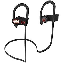 Zenoplige Casque Bluetooth sans fil Sport Casque stéréo avec crochet oreille douce et la transpiration intra-auriculaires avec micro et contrôle du volume pour les smartphones iPhone Android etc