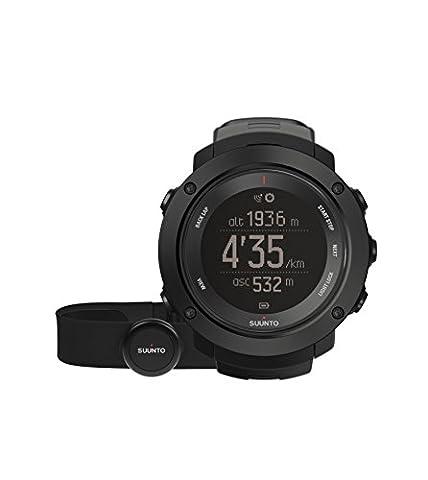 Suunto, AMBIT3 VERTICAL HR, Montre GPS Multisport unisexe, 15h d'autonomie, Cardiofréquencemètre + Ceinture de poitrine (Taille : M), Étanchéité jusqu'à 100 m, Noir, SS021964000