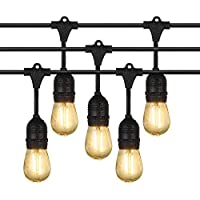 Extérieur Guirlandes Lumineuses, iEGrow 15 Mètres LED Imperméabiliser Connectable Chaîne de lumières 15 E27 pont d'Edison Ampoules Rétro pour Porche Deck Taverne Patio Jardin Fête