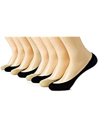 QRAFTINK No Show Socks for Women & Girls | Premium Mercerised Cotton Loafer Socks for Daily Use & Sports Combo of 4 Beige and 4 Black Liner Socks