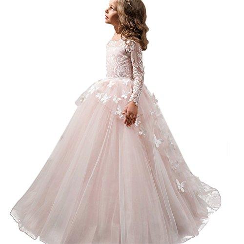 Kleid Pinzessin Kostüm Lange Brautjungfern Kleider Hochzeit Party Festzug #11 Schmetterling und Weiß 8-9 Jahre (Mädchen Kleider Für Anlässe)