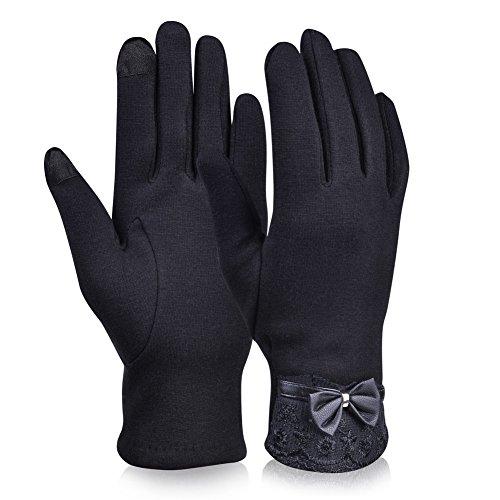Vbiger Touch screen spessa delle donne guanti da guida con Bowknot caldo di inverno di usura (Nero 2)