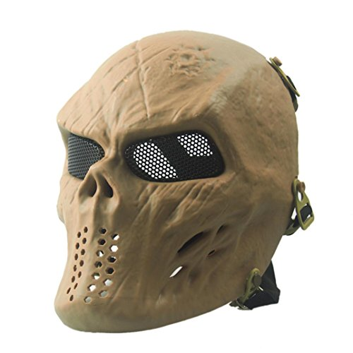 t Schädel Skelett Halloween Maske, Airsoft Paintball Taktisches Militär Halloween (Khaki) ()