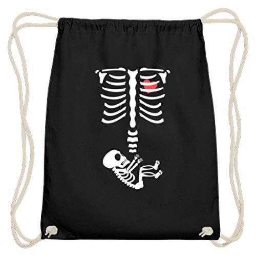 generisch Lustiges Schwangerschaft Halloween Baby Mama Mütter Skelett Menschen Nachwuchs - Baumwoll Gymsac -37cm-46cm-Schwarz