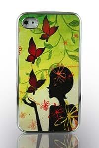 Étui Housse Rigide pour iPhone 44G 4S Case aspect chrome design Housse Case Cover Coque de Protection Smartphone Poche Etui Coque bumper–Lady Butterfly–Papillon