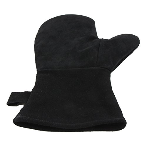 Eurosan HFA1 Kamin Hitzehandschuh, Fäustling, Universalgröße, Echtes Rindsleder, Leder, schwarz, 34.5 x 21.0 x 2.5 cm