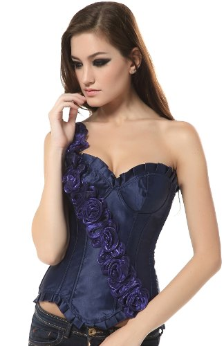 Ivy Shi Damen Vollbrust Corsage With Floral Design Shoulder Strap Blau