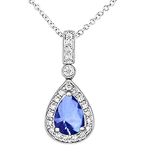 Oro bianco 18 carati pera tanzanite e diamanti collana pendente nuovo