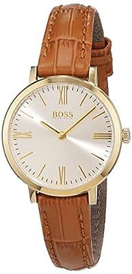Hugo Boss Jillian Womens Quartz Gold Analogue Classic Brown Leather Strap 1502394