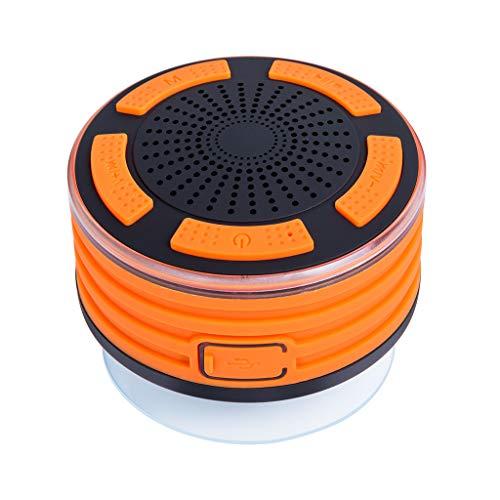 Haut-Parleur Bluetooth étanche IPX7 Enceinte de Douche sans Fil Speaker, Son HD, Ventouse, lumière LED, Micro intégré, kit Mains Libres pour Piscine, Cuisine et Maison 10x10x10cm Orange