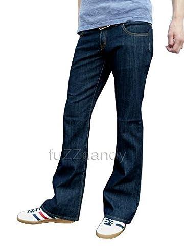 Mens Indigo Blue Bootcut Flares Denim Jeans indie retro, Indigo