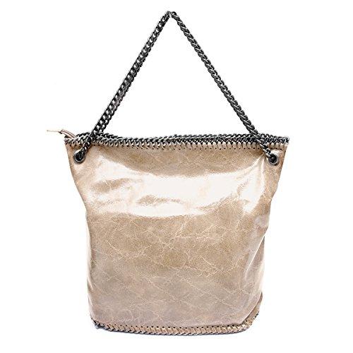 Sacchetto ,Shopper,borse a spalla,catene (38/ 35/ 15 cm),in pelle Mod. 2067 by Fashion-Formel Beige