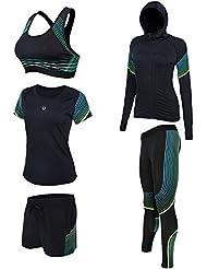 [ShowTime] Conjunto de traje de fitness femenino, yoga, correr, trotar, gimnasio Traje de entrenamiento de fitness Traje de baño de entrenamiento Chándal (Small, C- 5 Pieces)